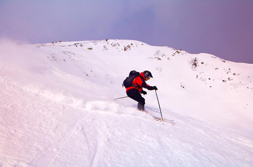 Skiing at Marmot Basin near Jasper,  Jasper National Park, Alberta, Canada