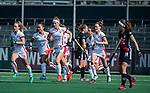 AMSTELVEEN - Yibbi Jansen (OR)heeft gescoord   tijdens de hoofdklasse competitiewedstrijd hockey dames,  Amsterdam-Oranje Rood (5-2). COPYRIGHT KOEN SUYK