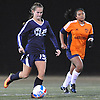 Nikki Beatty #15 of Patchogue-Medford moves the ball downfield during the second of two varsity girls soccer all-star games pitting the Suffolk County seniors against their Nassau counterparts at Bethpage High School on Friday, Nov. 25, 2016.