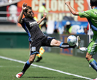 Bobby Convey (left) battles against Sebastien Le Toux (9). The San Jose Earthquakes defeated Seattle Sounders FC 4-0 at Buck Shaw Stadium in Santa Clara, California on August 2, 2009.