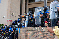 AUSTIN, TEXAS - MAY 30 Law enforcement officers point their weapons at the crowd of Black Lives Matter protesters at the Austin Police Department Headquarters on Saturday May 30, 2020. <br /> <br /> Use of this image in advertising or for promotional purposes is prohibited.<br /> <br /> Editorial Credit: Photo by Dan Herron / Herron Stock