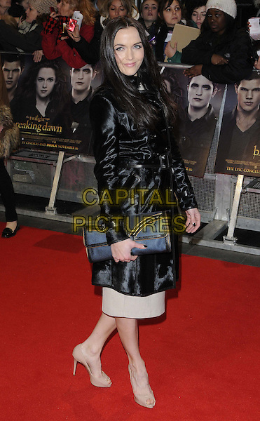Victoria Pendleton.'The Twilight Saga: Breaking Dawn Part 2' European film premiere, Empire cinema, Leicester Square, London, England..14th November 2012.full length black shiny jacket beige grey gray clutch bag dress blue side shoes.CAP/CAN.©Can Nguyen/Capital Pictures.