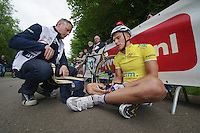 Marcel Kittel (DEU) needed to sit down to recuperate immediately after finishing the stage<br /> <br /> 2013 Ster ZLM Tour <br /> stage 4: Verviers - La Gileppe (186km)
