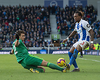 \Brighton & Hove Albion's Gaetan Bong (right) is tackled by Watford's Daryl Janmaat (left) <br /> <br /> Photographer David Horton/CameraSport<br /> <br /> The Premier League - Brighton and Hove Albion v Watford - Saturday 2nd February 2019 - The Amex Stadium - Brighton<br /> <br /> World Copyright © 2019 CameraSport. All rights reserved. 43 Linden Ave. Countesthorpe. Leicester. England. LE8 5PG - Tel: +44 (0) 116 277 4147 - admin@camerasport.com - www.camerasport.com