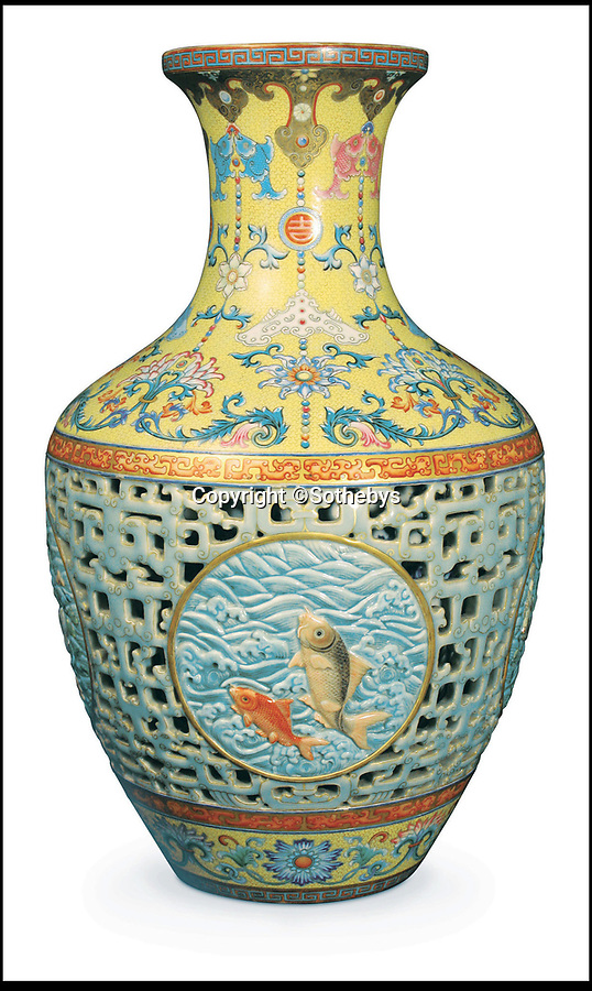 BNPS.co.uk (01202 558833)<br /> Pic: ATG/BNPS<br /> <br /> The original vase - that was subject of a long legal dispute finally sold in 2013.<br /> <br /> A 'lost' Chinese vase has sold for a whopping £14.6m - eight years after its matching twin went under the hammer at a British auction house for £43m.<br /> <br /> It means the identical pair of 16ins tall antiques are worth a combined £57.6m.<br /> <br /> The first 18th century Qianlong vase took the antiques world by storm after solicitor Tony Johnson and his mother Gene offered it for sale in 2010.<br /> <br /> The 16ins item sold for the astonishing sum to a wealthy Chinese collector.<br /> <br /> Now its missing pair, that had been kept in the same family for 90 years, has sold.