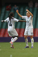Kelly SMITH of Great Britain celebrates the winning goal with Anita ASANTE - Great Britain Women vs New Zealand Women - Womens Olympic Football Tournament London 2012 Group E at the Millenium Stadium, Cardiff, Wales - 25/07/12 - MANDATORY CREDIT: Gavin Ellis/SHEKICKS/TGSPHOTO - Self billing applies where appropriate - 0845 094 6026 - contact@tgsphoto.co.uk - NO UNPAID USE.