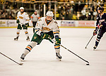 20 January 2017: University of Vermont Catamount Defenseman Rob Hamilton, a Senior from Calgary, Alberta, in second period action against the University of Connecticut Huskies at Gutterson Fieldhouse in Burlington, Vermont. The Catamounts lead throughout the game to defeat the Huskies 5-4 in Hockey East play. Mandatory Credit: Ed Wolfstein Photo *** RAW (NEF) Image File Available ***