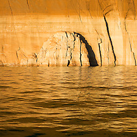 Evening light on sandstone cliffs of Lake Powell