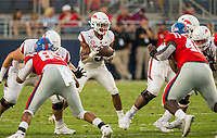 NWA Democrat-Gazette/BEN GOFF @NWABENGOFF<br /> Rakeem Boyd, Arkansas running back, takes a snap in the first quarter vs Ole Miss Saturday, Sept. 7, 2019, at Vaught-Hemingway Stadium in Oxford, Miss.