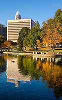 Charlotte's Marshall Park, shown here, was originally constructed in 1973 as an Urban Renewal project. A 1.24 acre pond and fountain sit in the middle of the park. The park provides an open green space for citizens and lunch time patrons and is also capable of housing small to medium size events. The park is located at 800 East Third Street, the park covers 5.43 acres and is bordered by East Third Street, South McDowell Street, the Charlotte-Mecklenburg Board of Education, and First Baptist Church.