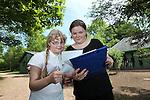Children from Deri View Primary School visiting Welsh Water Education Centre in Cilfynydd..Pupils Lauren Aurelius & Scarlett White taking part in an orienteering lesson..28.05.12.©Steve Pope