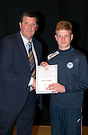 St Johnstone FC Academy Awards Night...06.04.15  Perth Concert Hall<br /> Tommy Wright presents a certificate to Ewan O'Reilly<br /> Picture by Graeme Hart.<br /> Copyright Perthshire Picture Agency<br /> Tel: 01738 623350  Mobile: 07990 594431