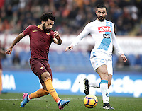 Roma&rsquo;s Mohamed Salah, left, is challenged by Napoli&rsquo;s Raul Albiol during the Serie A soccer match between Roma and Napoli at the Olympic stadium, 4 March 2017.<br /> UPDATE IMAGES PRESS/Isabella Bonotto