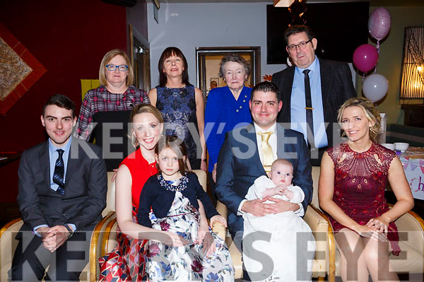 Celebrating the christening of Sadie Herbage in Galleys Restraurant on Saturday evening last,  Seated L-r, John Herbage (Godfather), Mom and Dad Tracey and Bill Herbage, sister Clara Herbage and Ciara O&rsquo;Regan (Godmother).<br /> Back l-r, Marina Herbage (Grandmother), Deirdre O&rsquo;Brien, Agnis Keogh and Paddy Herbage (Grandfather).
