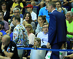 09.06.2019, Max Schmeling Halle, Berlin, GER, DHB,  1.HBL,  FUECHSE BERLIN VS. HSG Wetzlar,<br /> DHB regulations prohibit any use of photographs as image sequences and/or quasi-video<br /> im Bild , Thomallas auf der Tribuene, Volker Zerbe (Fuechse Berlin), Manager Bob Hanning (Fuechse Berlin)<br /> <br />      <br /> Foto © nordphoto / Engler