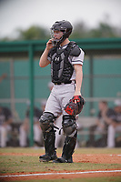 Edgewood Eagles catcher Alex Prindle (15) during the first game of a double header against the Bethel Wildcats on March 15, 2019 at Terry Park in Fort Myers, Florida.  Bethel defeated Edgewood 6-0.  (Mike Janes/Four Seam Images)