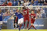 07 December 2012: Indiana's Femi Hollinger-Janzen (6) and Creighton's Zach Barnes (12). The Creighton University Bluejays played the Indiana University Hoosiers at Regions Park Stadium in Hoover, Alabama in a 2012 NCAA Division I Men's Soccer College Cup semifinal game.