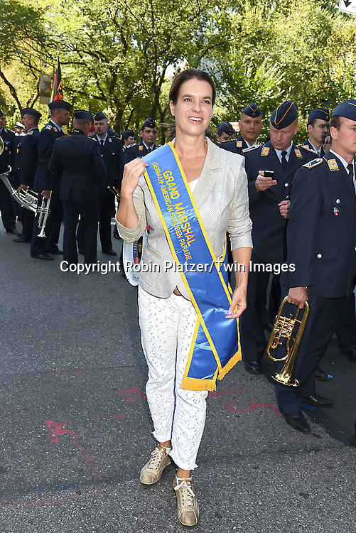 Grand Marshal Olympic Figure Skater Katarina Witt attends the 59th German-American Steuben Parade on September 17, 2016 on Fifth Avenue in New York City, New York, USA. <br /> <br /> photo by Robin Platzer/Twin Images<br />  <br /> phone number 212-935-0770