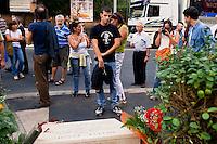 Roma 29  Settembre 2012..Manifestazione in ricordo di Walter Rossi, militante di Lotta Continua ucciso dai fascisti il 30 Settembre 1977..Rome September 29, 2012..Manifestation in memory of Walter Rossi, killed by the fascists the September 30, 1977