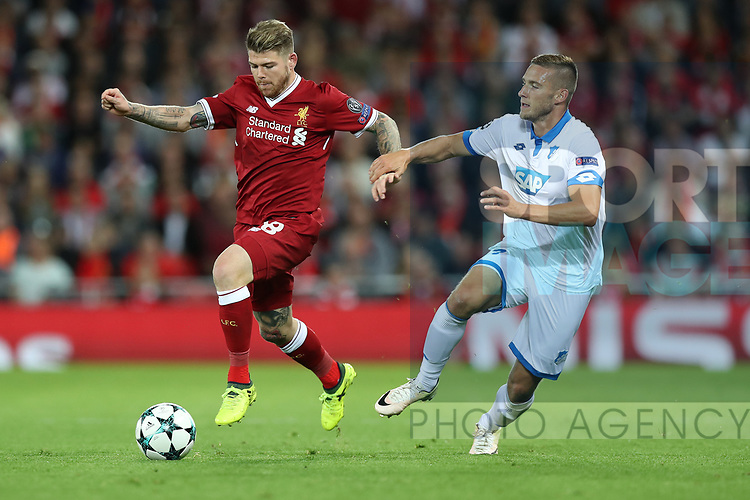 Mark Uth of Hoffenheim and Alberto Moreno of Liverpool during the Champions League playoff round at the Anfield Stadium, Liverpool. Picture date 23rd August 2017. Picture credit should read: Lynne Cameron/Sportimage