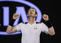 ANDY MURRAY (GBR)<br /> <br /> TENNIS - GRAND SLAM ITF / ATP  / WTA - Australian Open -  Melbourne Park - Melbourne - Victoria - Australia  - 27 January 2016<br /> <br /> &copy; AMN IMAGES