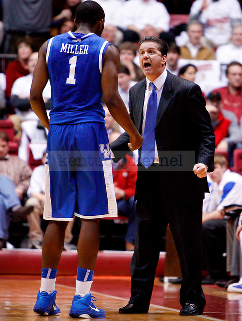 UK head coach John Calipari yells at Darius Miller in the first half of the UK men's basketball game against the Alabama Roll Tide at Coleman Arena  on Jan. 18, 2011. Photo by Britney McIntosh | Staff
