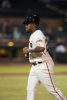 Scottsdale Scorpions manager Willie Harris (22), of the San Francisco Giants organization, during an Arizona Fall League game against the Salt River Rafters at Scottsdale Stadium on October 12, 2018 in Scottsdale, Arizona. Scottsdale defeated Salt River 6-2. (Zachary Lucy/Four Seam Images)