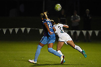 Kansas City, MO - Saturday May 28, 2016: Orlando Pride defender Monica Hickman Alves (21) and FC Kansas City forward Shea Groom (2) go for a header during a regular season National Women's Soccer League (NWSL) match at Swope Soccer Village.  Kansas City won 2-0.