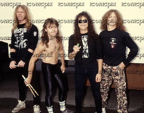 Metallica - L-R: James Hetfield, Lars Ulrich, Kirk Hammett, Jason Newsted - photocall at the Monsters of Rock Festival held at the Messegelande in Nuremberg Germany - 29 Aug 1987.  Photo credit: George Chn/IconicPix