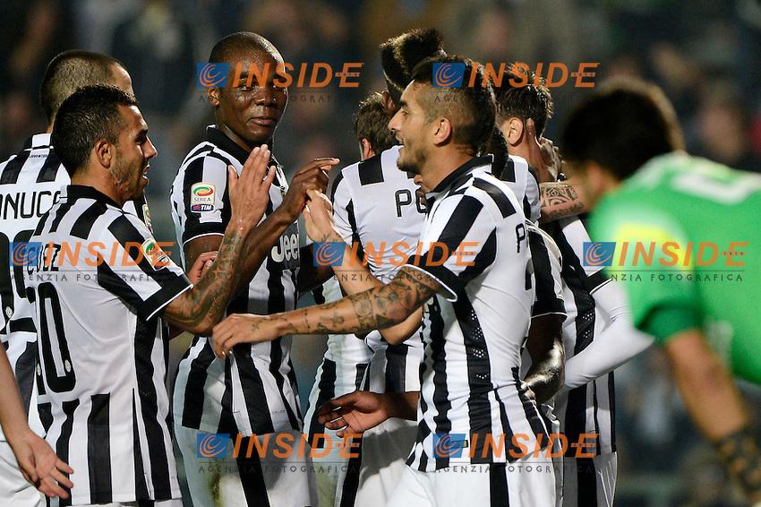 Esultanza gol di Alvaro Morata Juventus 0-3. Celebration goal<br /> Bergamo 27-09-2014 Stadio Atleti Azzurri d'Italia - Football Calcio Serie A Atalanta - Juventus. Foto Giuseppe Celeste / Insidefoto