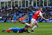 Paddy Madden of Fleetwood Town is sent flying following the tackle of Jack Baldwin of Peterborough United during the Sky Bet League 1 match between Peterborough and Fleetwood Town at London Road, Peterborough, England on 28 April 2018. Photo by Carlton Myrie.