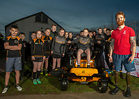 Picture by Jonathan Becker/SWpix.com - 25/02/2019 - CreatedBy RLWC 2021 - Small Grants Award - Aspatria Hornets RLFC, Aspatria, England - England and Leeds Rhinos Wheelchair Rugby League player James Simpson  presents a grass cutter to Aspatria Hornets Rugby League Club.
