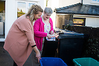 FAO: Society <br /> Pictured L-R: Alys Phillips helping resident Mandy Patton recycle<br /> Re: Care worker Alys Phillips, 23, who looks after people with learning disabilities in Brecon, mid Wales, UK. Wednesday 01 February 2017