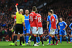 Wes Brown of Sunderland is shown a red card - Manchester United vs. Sunderland - Barclay's Premier League - Old Trafford - Manchester - 28/02/2015 Pic Philip Oldham/Sportimage
