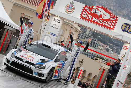 19.01.2014. Monte Carlo, Monaco. The WRC Monte Carlo rally conclusion.  Winning drivers S. OGIER and INGRASSIA with their car on the podium