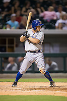 Ryan Brett (1) of the Durham Bulls at bat against the Charlotte Knights at BB&T BallPark on July 22, 2015 in Charlotte, North Carolina.  The Knights defeated the Bulls 6-4.  (Brian Westerholt/Four Seam Images)