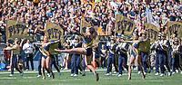 The Pitt Golden Girls lead the Pitt marching band onto the field. The Akron Zips Defeated the Pitt Panthers 21-10 at Heinz Field, Pittsburgh. Pennsylvania on September 27, 2014.