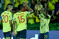 ARMENIA – COLOMBIA, 19-01-2020:Johan Carboreno de Colombia celebra después de anotar el cuarto  gol de su equipo durante partido entre Colombia y Ecuador por la fecha 2, grupo A, del CONMEBOL Preolímpico Colombia 2020 jugado en el estadio Centenario de Armenia, Colombia. / Johan Carbonero of Colombia celebrates after scoring the fourth goal of his team during the match between Colombia and Ecuador for the date 2, group A, for the CONMEBOL Pre-Olympic Tournament Colombia 2020 played at Centenario stadium in Armenia, Colombia Colombia y Ecuador en partido de la fecha 2, grupo A, del CONMEBOL Preolímpico Colombia 2020 jugado en el estadio Centenario de Armenia, Colombia. / Colombia and Ecuador in match of the date 2, group A, for the CONMEBOL Pre-Olympic Tournament Colombia 2020 played at Centenario stadium in Armenia, Colombia. Photos: VizzorImage / Julian Medina / Cont