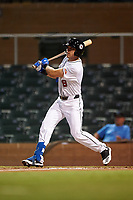 Scottsdale Scorpions Cullen Large (8), of the Toronto Blue Jays organization, at bat during an Arizona Fall League game against the Glendale Desert Dogs on September 20, 2019 at Salt River Fields at Talking Stick in Scottsdale, Arizona. Scottsdale defeated Glendale 3-2. (Zachary Lucy/Four Seam Images)