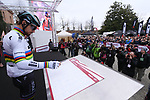 World Champion Peter Sagan (SVK) Bora-Hansgrohe at sign on before the start of the 2017 Strade Bianche running 175km from Siena to Siena, Tuscany, Italy 4th March 2017.<br /> Picture: La Presse/Gian Mattia D'Alberto | Newsfile<br /> <br /> <br /> All photos usage must carry mandatory copyright credit (&copy; Newsfile | La Presse)
