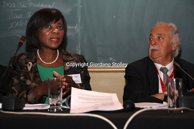 DURBAN - 17 July 2012 - South Africa's Public Protector Thuli Madonsela speaks at a conference on press freedom at the University of KwaZulu-Natal as well known anti-apartheid lawyer George Bizos looks on. Bizos repreented Nelson Mandela in te Treason and Rivoni trials..Picture: Giordano Stolley/Allied Picture Press/APP