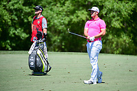 Jon Rahm (ESP) watches his approach shot on 2 during round 2 of the Shell Houston Open, Golf Club of Houston, Houston, Texas, USA. 3/31/2017.<br /> Picture: Golffile | Ken Murray<br /> <br /> <br /> All photo usage must carry mandatory copyright credit (&copy; Golffile | Ken Murray)