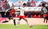 27th May 2020, Red Bull Arena, Leipzig, Germany; Bundesliga football, RB Leipzig versus Hertha Berlin. Patrick Schick (21, RB Leipzig) shoots and scores for 2:1.