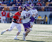 UAlbany Men's Lacrosse defeats Stony Brook on March 31 at Casey Stadium.  Zach Wolfe (#16).
