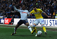 Leeds United's Jack Harrison is tackled by Preston North End's Daniel Johnson<br /> <br /> Photographer Kevin Barnes/CameraSport<br /> <br /> The EFL Sky Bet Championship - Preston North End v Leeds United -Tuesday 9th April 2019 - Deepdale Stadium - Preston<br /> <br /> World Copyright &copy; 2019 CameraSport. All rights reserved. 43 Linden Ave. Countesthorpe. Leicester. England. LE8 5PG - Tel: +44 (0) 116 277 4147 - admin@camerasport.com - www.camerasport.com