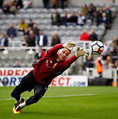1st October 2017, St James Park, Newcastle upon Tyne, England; EPL Premier League football, Newcastle United versus Liverpool; Simon Mignolet of Liverpool makes a save in the warm up