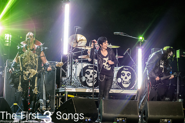 "Andy Biersack performs with Jerry Only, Dez Cadena, and Eric ""Chupacabra"" Arce of The Misfits at the 2014 AP Music Awards at the Rock And Roll Hall Of Fame and Museum at North Coast Harbor in Cleveland, Ohio."