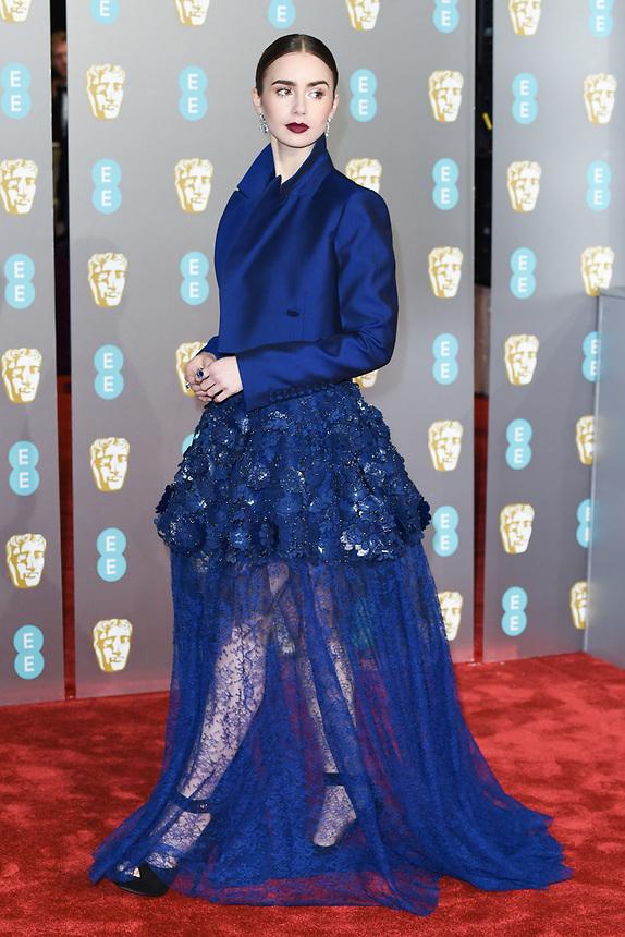 Lilly Collins<br /> arriving for the BAFTA Film Awards 2019 at the Royal Albert Hall, London<br /> <br /> ©Ash Knotek  D3478  10/02/2019