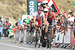 Dylan Teuns (BEL) Bahrain-Merida and Jesus Herrada (ESP) Cofidis from the breakaway with 1km to go to the end of Stage 6 of La Vuelta 2019 running 198.9km from Mora de Rubielos to Ares del Maestrat, Spain. 29th August 2019.<br /> Picture: Colin Flockton | Cyclefile<br /> <br /> All photos usage must carry mandatory copyright credit (© Cyclefile | Colin Flockton)
