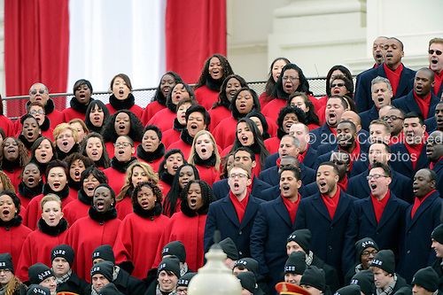 The Brooklyn Tabernacle Choir performs prior to United States President Barack Obama taking the oath of office during the public swearing-in ceremony at the U.S. Capitol in Washington, D.C. on Monday, January 21, 2013..Credit: Ron Sachs / CNP.(RESTRICTION: NO New York or New Jersey Newspapers or newspapers within a 75 mile radius of New York City)